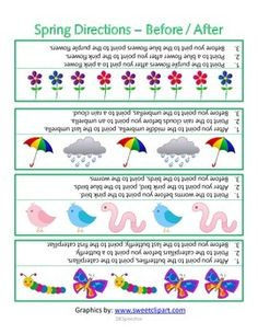 Free! Spring Directions, before and after worksheet/picture page with a spring theme
