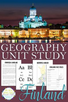 The Finland Unit Study covers both the alphabet and geography and includes fact files, notebooking pages, and flashcards for vowels, consonants & dipthongs. Finland Facts, Kids Travel Journal, Free Homeschool Curriculum, World Geography, Reading Resources, Unit Studies, Online Courses, Homemaking, Social Studies