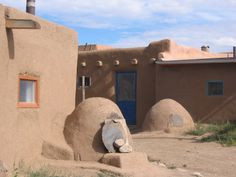 Adobe ovens in the Taos Pueblo.  They are still being used...and they served us some fresh bread, still warm, from the ovens!