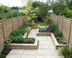 Long narrow garden design.... Prefer curves. Appletree Garden Designs