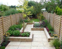 Long narrow garden design.... Prefer curves. Appletree Garden Designs