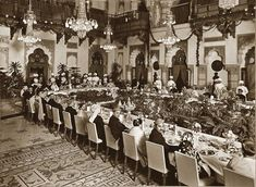 Banquet held in the Durbar Hall, Laxmi Vilas Palace, Baroda on the occasion of a state visit of Maharaja Ganga Singh of Bikaner, 1934