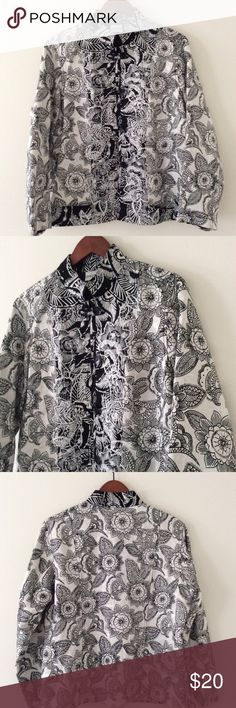 Chico's Silk Linen Jacket Silk! Linen! Mandarin style! Floral Mandala print! Just gorgeous. Super lightweight. Chicos size 2 which is a large size 12. Pair this with white or black Linen pants, skirt. Whatever you choose it will be stunning. 70% silk 30% linen Chico's Jackets & Coats Blazers