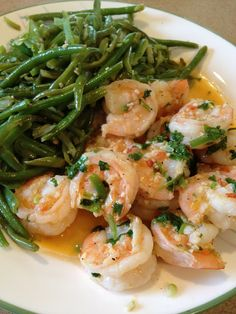 Cilantro Lime Shrimp with Green Beans - olive oil - 2 lbs. shrimp - 6 garlic cloves - fresh cilantro - lime - 6 cups green beans