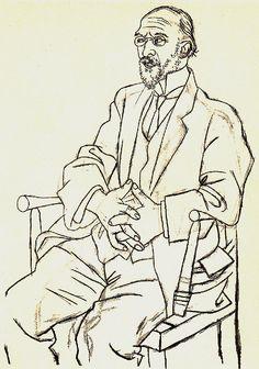 pablo picasso___portrait of erik satie 1920 Pablo Picasso Drawings, Kunst Picasso, Art Picasso, Picasso Prints, Picasso Sketches, Life Drawing, Figure Drawing, Drawing Sketches, Painting & Drawing