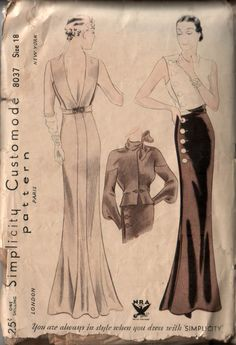 Customode 8037 - such sleek, elegant 1930s lines.     Love this with the buttons at the waist