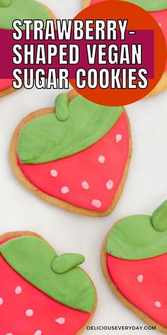 These Strawberry-Shaped Vegan Sugar Cookies are adorable, fun, super delicious, and simple to whip up. #cookies #baking #fondant #sugarcookies #vegan #vegetarian #vegancookies Healthy Vegan Desserts, Vegan Dessert Recipes, Vegan Vegetarian, Vegan Sugar Cookies, Alcoholic Cocktails, Best Cocktail Recipes, Vegan Cake, Quick Easy Meals, Fondant