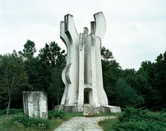 Abandoned memorials commemorating WW2 battle sites in Yugoslavia.