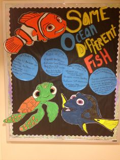 My finding nemo themed diversity bulletin board w/hand painted characters