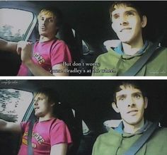"""..Bradley's at the wheel."" - Bradley James and Colin Morgan (Merlin road trip)"