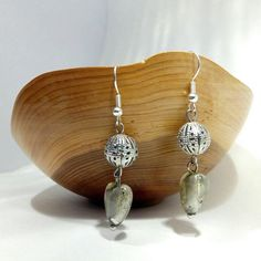Grey Heart Dangle Earrings