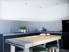 Oak and Stainless Steel bulthaup b2 workbench. Looe Project | Sapphire Spaces