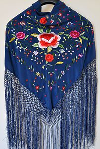 Hand Embroidered silk flamenco spanish dance wear piano shawl/Mantón