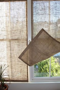 Creative Window Treatments Burlap Shades love this idea for the French doors. Summer gets real HOT where they're located.Burlap Shades love this idea for the French doors. Summer gets real HOT where they're located. Unique Window Treatments, Burlap Window Treatments, Basement Window Treatments, Farmhouse Window Treatments, Window Treatments French Doors, Window Treatments Living Room, Diy Casa, Burlap Crafts, Burlap Projects
