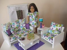 American Girl Doll Living Room Set for 18 inch Doll  by sashali