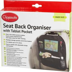 The Clippasafe Seat Back Organiser with Tablet Pocket is a great option to keep your child entertained during a long car ride. Third Pregnancy, Long Car Rides, Car Seat Accessories, Drink Holder, Baby Care, Little Ones, Cleaning Wipes, Car Seats, Organization
