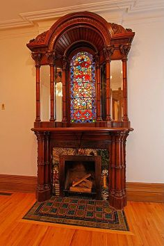 Gorgeous mantel in 1886 home.