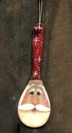 santa face wooden spoon - Google Search