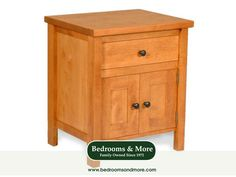 The Urban Nightstand by All Wood Concepts melds traditional design with modern day sleekness. Featuring 1 drawer and 2 doors, this piece could serve as a nightstand or an end table next to a sofa, chaise, or chair. This is a solid wood, attractive piece, with a look to complement a wide range of decor styles, including Transitional, Country, Coastal, Primitive, and Vintage Modern. Handcrafted in the USA. We'll ship to you! Call us in Seattle at Bedrooms & More: 1-888-297-8844