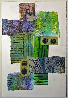 A couple more paper collages from last week. I'm also including Gelli printed papers among my stash, some of which I've been overprintin...