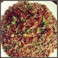 Lentils and Bulgur Wheat with Caramelized Onions