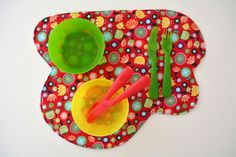 baby lux – razzmatazz* funky print baby place mats  hand-made 100% cotton fabric