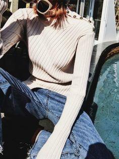 4fd94077ef5 Beige High Neck Asymmetric Hem Long Sleeve Women Sweater