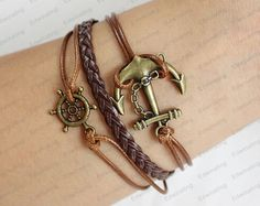 brown leather bracelet anchor bracelet Adjustable by lifesunshine, $7.99