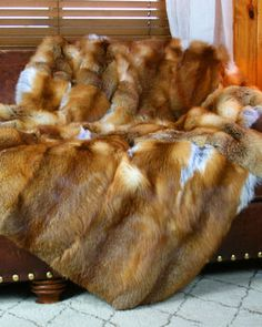 bc8e58c453 Rocky Mountain Red Fox fur blanket from True North Furs Faux Fur Bedding