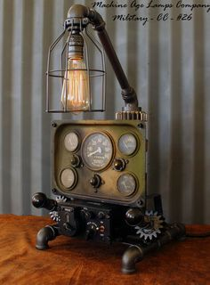 Steampunk Machine Age Aviation Lamp Willys Jeep Military Air Plane #CC26 https://www.pinterest.com/source/machineagelamps.com/