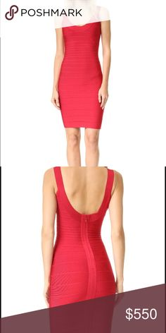 ca81a3ae21a Red Herve ledge scoop neck dress authentic Herve ledge dress in red. Only  worn once no damage or stains. I will be uploading pictures of the actual  dress on ...