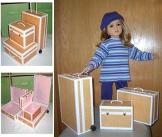 My Twinn pattern for foam core suitcase set PDF American Girl American Girl Crafts, American Doll Clothes, Ag Doll Clothes, Doll Clothes Patterns, Doll Patterns, American Girls, American Girl Accessories, Doll Accessories, Camping Accessories