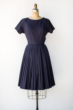 vintage 1950s navy blue pleated day dress [Into Town Dress] - $78.00 : ADORED | VINTAGE, Vintage Clothing Online Store