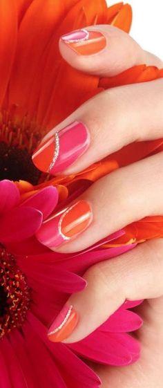 Orange, pink red