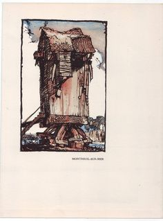 FRANK BRANGWYN Lithograph WINDMILL 1923 Vintage Print - MONTREUIL-SUR-MER | eBay