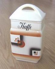 Alte Kaffeedose aus Schweden Spritzdekor * Art Deco Porzellan 30er 40er Jahre