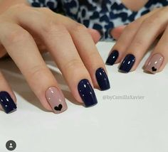 Ideas For Nails Blue Nailart Manicures Stylish Nails, Trendy Nails, Elegant Nails, Hair And Nails, My Nails, Heart Nails, Heart Nail Art, Nice Nails, Nagel Hacks