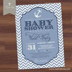 Baby Boy Shower Invitation - Chevron Nautical Theme