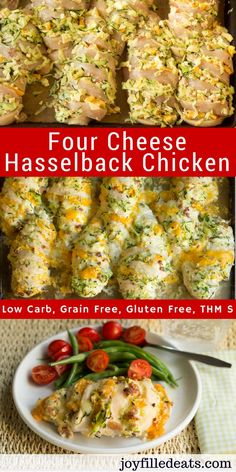 This Four Cheese Hasselback Chicken has four cheeses, shredded zucchini, & bacon. It looks fancy but it's an easy way to make stuffed chicken. Low Carb, Grain Free, & THM S.