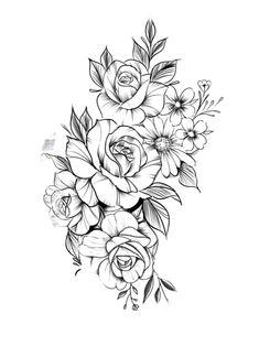 Blumen-Tattoo-Design – T A T O O S & P E R C I N G S – BlumenTattooDesi … Tattoo flowertattoos - flower tattoos - flower tattoos - Quinoa Recipes Sweet Tattoos, Mom Tattoos, Body Art Tattoos, Small Tattoos, Modern Tattoos, Thigh Tattoos, Tatoos, Drawing Tattoos, Flower Tattoo Drawings