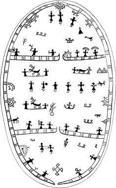 "Flanged frame drums – Kemi Sámi decoration style The two surviving Kemi Sámi drums have the two horizontal lines in common with the North Sámi ones, but differ from these in numerous ways. Being ""flanged frame"" drums, they are significantly larger – actually the largest of the frame drums. Their size allows for an enclosing border which is frequently missing on the smaller bowl drums, and both this and the horizontal lines are drawn with double lines with ornamentation between them. An…"