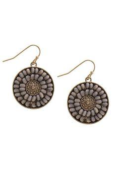 {Wood Beaded Medallion Trendy Earrings}
