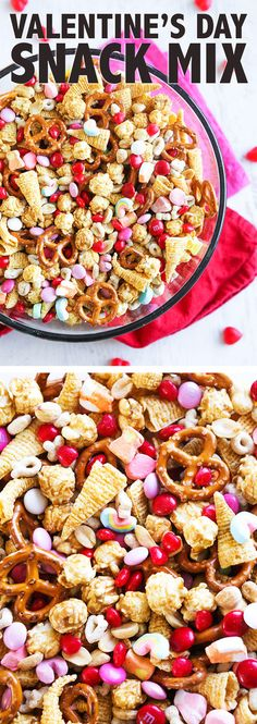 Valentine's Day Snack Mix | The sweet and salty combination in this festive treat is sooo addicting and yummy! Great for your next Valentine's party!