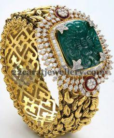 Jewellery Designs: Classy Diamond Gold Broad Kada