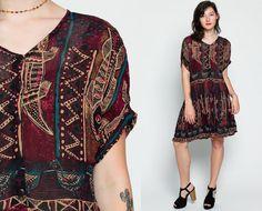 Hippie vestido Mini de los años 90 aves étnicas por ShopExile