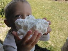 "Make ""Snow Soap"" with the kids.  This is what happens when you microwave a bar of Ivory soap! Then you can tear it up, color it, and mold it into shapes! It's not wet and messy, either!"