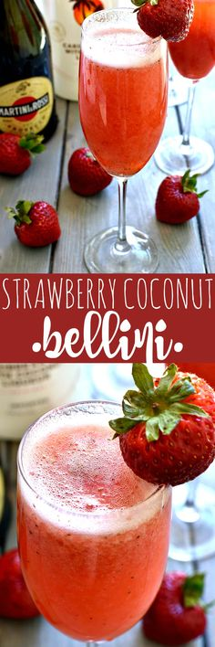 This Strawberry Coconut Bellini is a deliciously sweet, refreshing, tropical twist on the original! Made with just four ingredients, it's the perfect cocktail for brunch, ladies night, or any night....and you won't believe how easy it is to make!