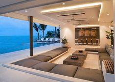 Sunken - veja modelos de salas e lounges rebaixados do nível do piso! #modelosdecasasdechacara