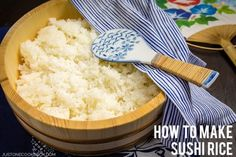 Homemade sushi rice recipe, simple instructions on how to make sushi rice with dashi kombu, sushi vinegar, sugar, and salt.