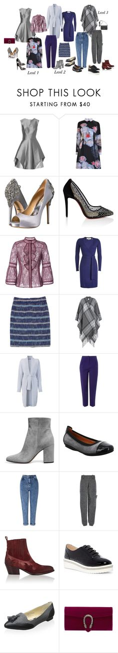 """""""Levels Of Refinement"""" by fashionwithafriend on Polyvore featuring Halston Heritage, Ted Baker, Badgley Mischka, Christian Louboutin, J. Mendel, Diane Von Furstenberg, Tory Burch, Theory, Balmain and Topshop"""
